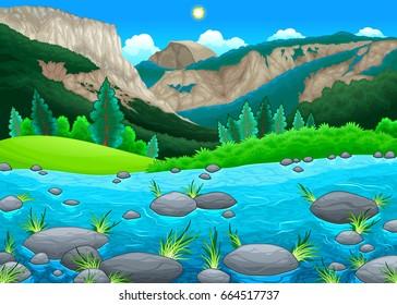 Mountain landscape with lake. Vector cartoon illustration