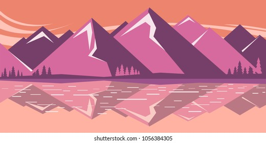 Mountain landscape with mountain lake .Vector horizontal background