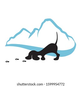 mountain landscape and little dog sniffing paws trail, vector