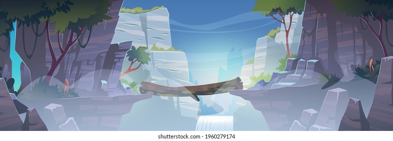 Mountain landscape with log bridge above river with waterfall in fog. Vector cartoon illustration of precipice between cliffs in jungle with rocks, green trees, water stream and white mist