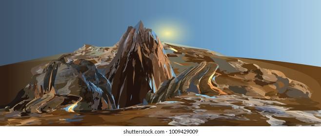 Mountain landscape mountainous terrain vector illustration background