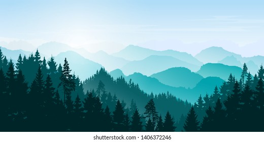 Mountain  landscape. Mountains and coniferous forest. Tourism and travelling. Vector silhouette