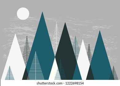 Mountain landscape, mountainscape, mountain mural, winter mountains, Christmas card, children's room decor, scandinavian wallpapers