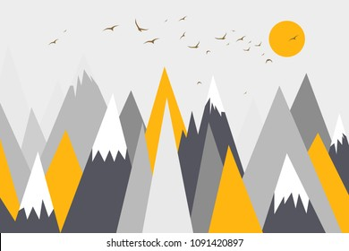 Mountain landscape, mountain mural, mountain background, childish, children's room decor, wallpaper, sunset in mountains, birds flying in mountains, trendy