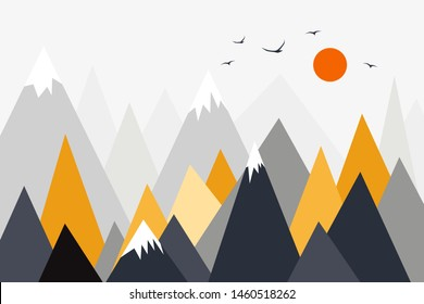 Mountain landscape, mountain mural, children's room wall decor, sunset in mountains