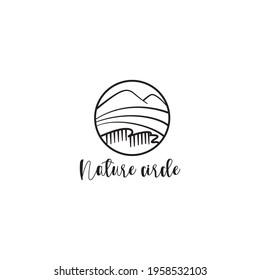 mountain landscape outline logo circle nature vector illustration design