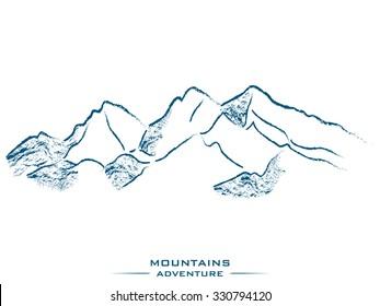 mountain landscape outline vector illustration