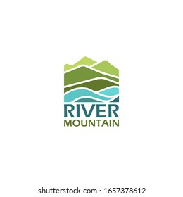 Mountain landscape, peak river creek logo vector template