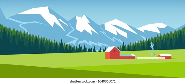 Mountain landscape with pine forest and green meadow on which stands a small farm. Farm on the field in the mountains vector illustration