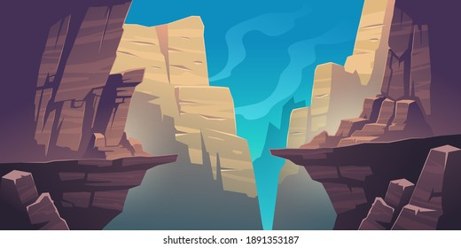 Mountain landscape with precipice in rocks. Vector cartoon illustration of abyss between cliffs, canyon or gorge. Dangerous rocky crack, gap or chasm divides stone ledge