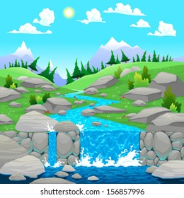 Mountain landscape with river. Cartoon and vector illustration