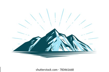 Mountain landscape, rock. Nature vector illustration