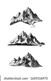 Mountain and landscape set black on white background. Hand drawn rocky peaks in sketch style. Vector illustration.