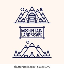 Mountain landscape set consisting of camp, mountains, backpack and tree line style for camping emblem, hiking sticker, tourist symbol, travel badge, expedition label, climbing, poster, banner, t-shirt