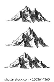 Mountain and landscape set isolated on white background. Hand drawn rocky peaks in sketch style. Vector illustration.