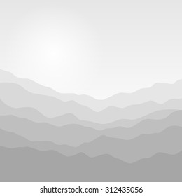 Mountain Landscape , Silhouette of the Misty Mountains  Before  Sunrise or in the Morning , Waves in Shades of Gray,  Vector Illustration