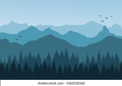 Mountain landscape with silhouettes of forest trees mountains and hills.  Light blue tones, flying birds.