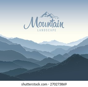 Mountain landscape, the silhouettes of the mountains against the dawn and elements of the logo.