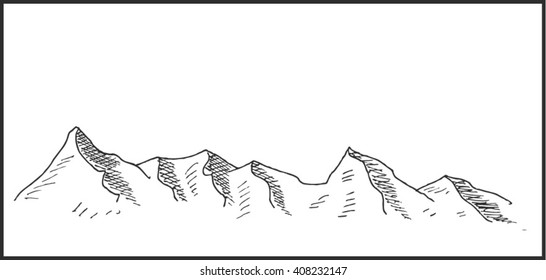 Mountain landscape sketch vector illustration with rock and mountain peak