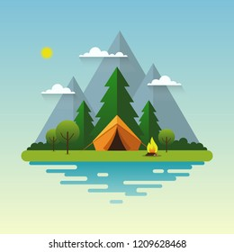 Mountain landscape. Solitude in nature by the river. Weekend in the tent. Hiking and camping. Vector flat illustration