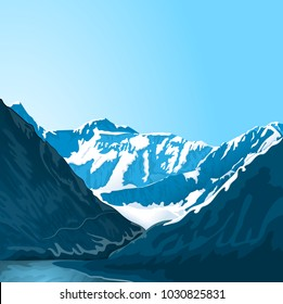 Mountain landscape. A species of rocky terrain. Gorge of the river, brightly lit by the sun. cliffs in the background, peaks with snow caps, bright blue sky. Mountain Creek. Vector.