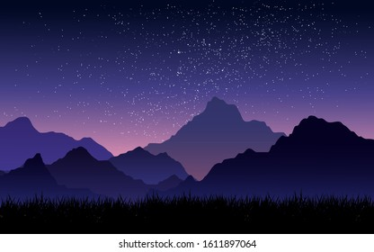 Mountain landscape with starry gradient sky