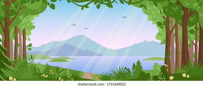 Mountain landscape with summer forest vector illustration. Cartoon flat countryside beautiful nature with green trees, river lake water, silhouettes of mountains. Summertime panoramic view background