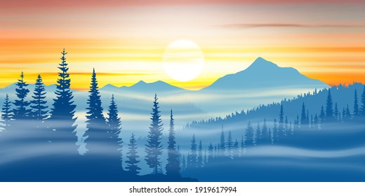 Mountain landscape at sunset, fog and forest
