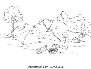 Mountain landscape. Tents and a bonfire on the background of the forest and mountains. Vector illustration of a sketch style.