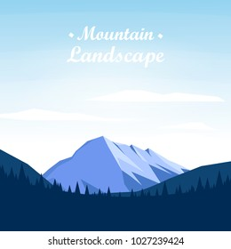Mountain landscape  with trees on Sunny Day, Vector illustration