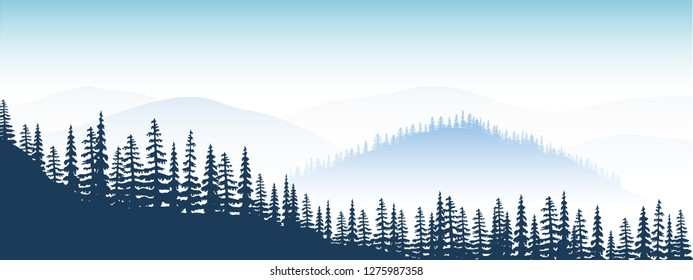 Mountain landscape. twilight, distant mountains, valley, hills, forest, mist or fog, fir trees, sky. Morning or rain. Vector illustration For web twitter instagram prints decoration
