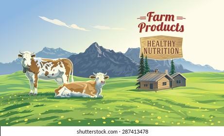 Mountain landscape with two cows and village in background. Vector illustration.