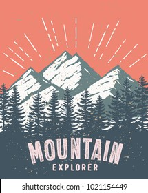 Mountain and landscape vector color image. Mountain explorer