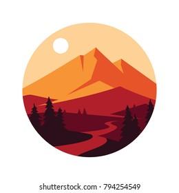 Mountain landscape. Vector icon.
