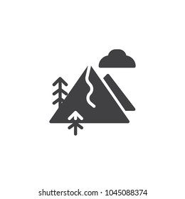 Mountain landscape vector icon. filled flat sign for mobile concept and web design. Ski slope mountain cloud, trees simple solid icon. Symbol, logo illustration.