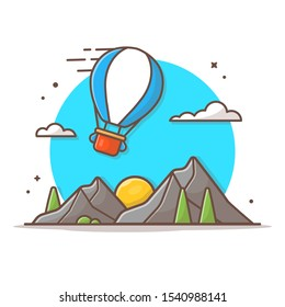 Mountain Landscape Vector Icon Illustration. Mountain And Hot Air Balloon, Sun, Panorama Icon Concept White Isolated. Flat Cartoon Style Suitable for Web Landing Page, Banner, Sticker, Background