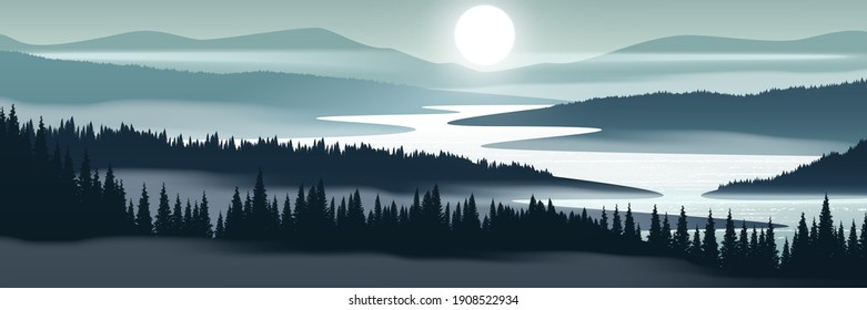 Mountain landscape. Vector landscape with misty mountain valley, forest and river.