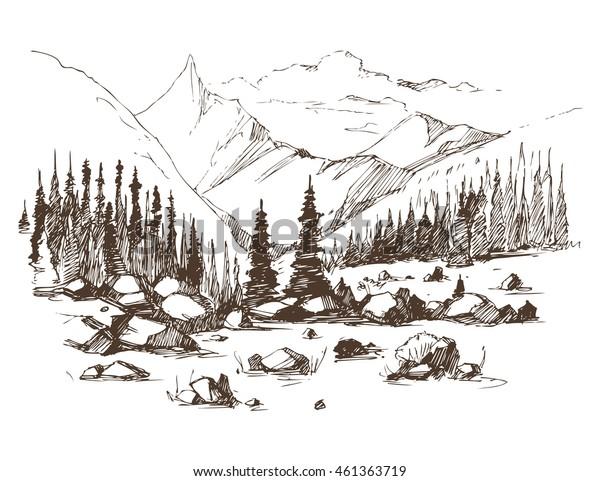 Mountain landscape. Vector sketch