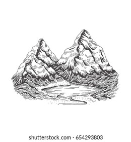 Mountain landscape. Vector sketch objects isolated on white background.
