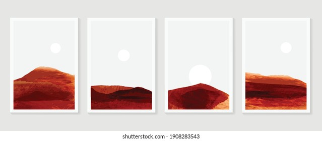 Mountain and landscape wall arts vector. Japanese oriental style abstract arts with watercolors texture design for wall framed prints, canvas prints, poster, home decor, cover, luxury wallpaper.