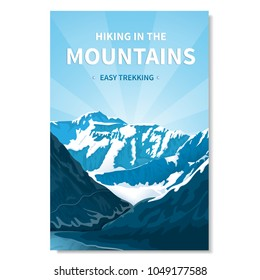 Mountain landscape-vertical banner, poster with text. Kind of rocky terrain. Gorge of the river, brightly lit by the sun. rocks in the background, peaks with snow caps, bright blue sky. River. Vector.