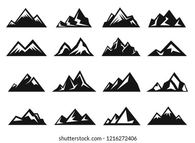 Mountain large natural rock with snow top icon set. Small and large steep hills. Vector line art illustration isolated on white background