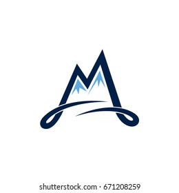 Mountain Letter M Initial Logo Template