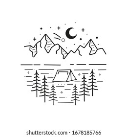 Mountain line art, emblems. Western vector illustrations. Design for t shirt, stamp, label, logo, etc. isolated vector graphic.