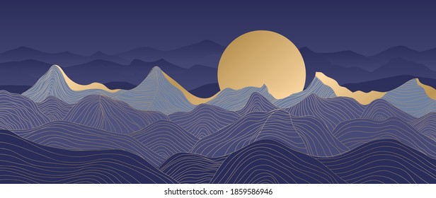 Mountain line arts background vector. Landscape with mountains and sun, Mountainous terrain, Sun set wallpaper design for wall arts, cover, fabric. Vector illustration.