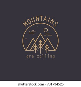 Mountain line logo. Nature travel logo.