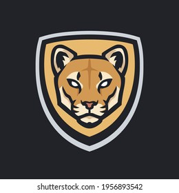 Mountain lion mascot head logo. Sports cougars logo. Big cat vector illustration.