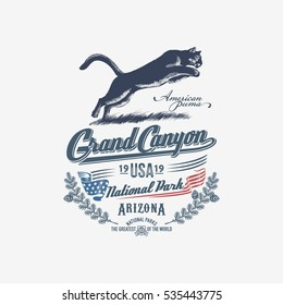 Mountain lion, Puma, national Park, Grand Canyon, illustration, vector, blue color
