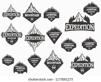mountain logo badge set for sticer and traveling