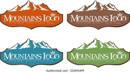 Mountain Logo Design. Creative vector logo icon with snow peaks.